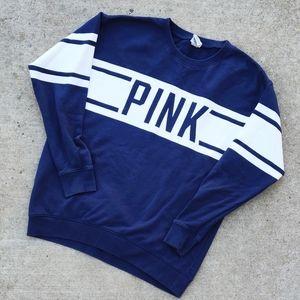 Pink Logo Varsity Stripe Navy Sweatshirt XS
